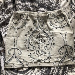 Dove grey willow & clay embroidered mini skirt